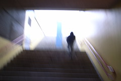 blurry silhouette on stairs