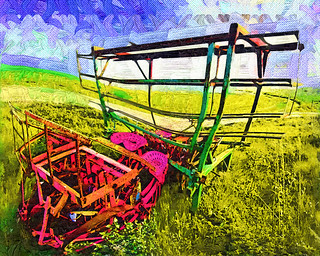 Machine in Brussels Sprouts field