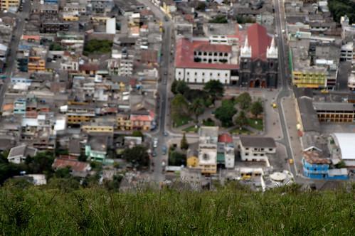 street houses grass buildings ecuador colorful cathedral birdseyeview baños