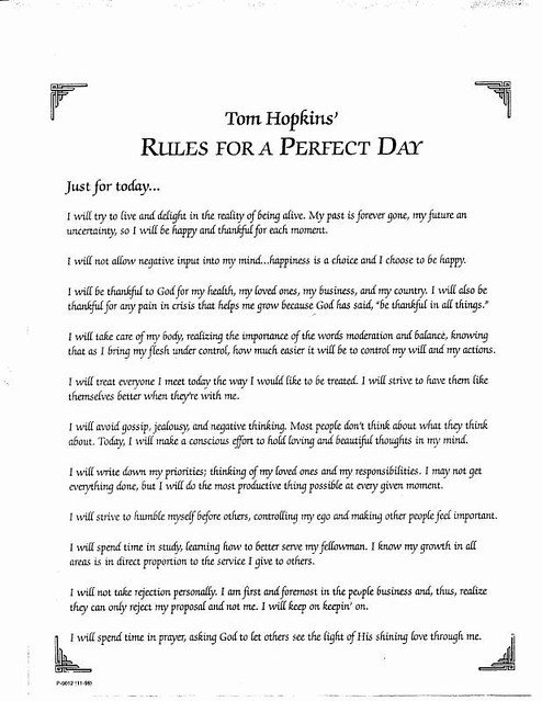 Rules for a Perfect Day | guidelines to a healthy marriage | Flickr