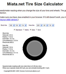 Miata Net Tire Size Calculator Showing The Change From My Flickr