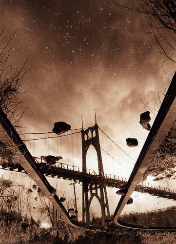 bw sepia architecture oregon 35mm reflections portland upsidedown bridges pacificnorthwest pdx nikonfm2 fujineopan400 stjohnsbridge suspensionbridges blueribbonwinner bluemooncamera historicbridges zebandrews abigfave artlibre zebandrewsphotography