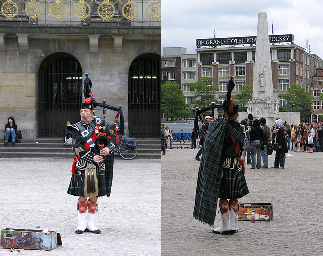 Bagpiper in the Dam square in Amsterdam