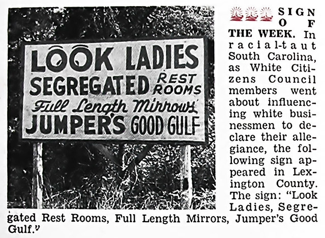Sign of the Week - Look Ladies, Segregated Rest Rooms! - Jet Magazine January 5, 1956