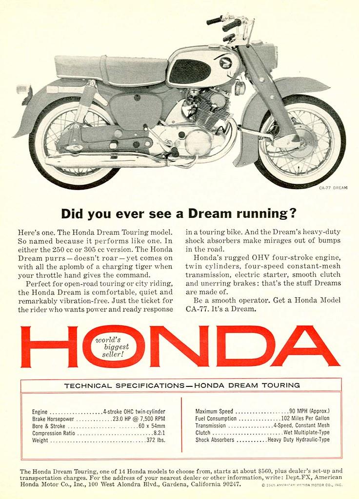 Honda Motorcycles   1965 Honda Motorcycles ad   Insomnia Cured Here