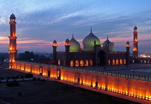 travel pakistan sunset night landscapes cloudy places mosque lahore floodlight badshahi
