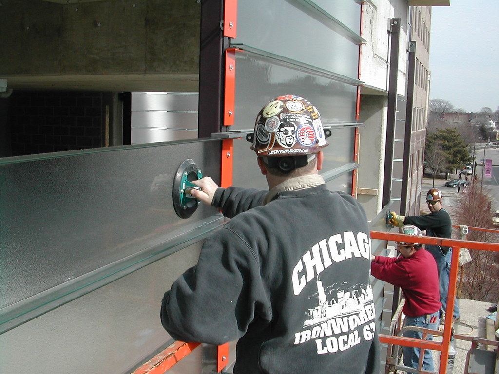 Ornamental Ironworkers Installing Channel Glass