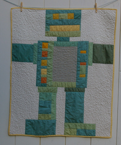 finished robot quilt | by By Small Means