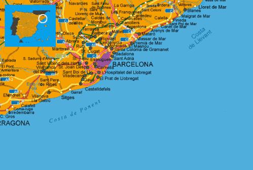 Costa De Barcelona Mapa.Maps Spain Costa Del Maresme Costa Maresme Spanish Coast M
