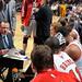 Coach Thibodeau addresses his team during a timeout