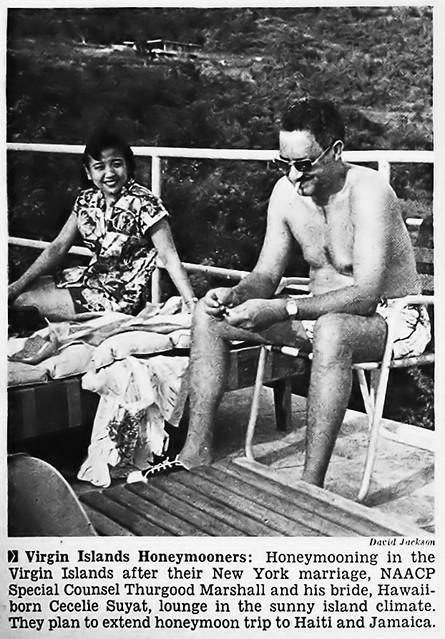 Thurgood Marshall and New Wife Cecelie Suyat on Their Honeymoon - Jet Magazine, January 5, 1956