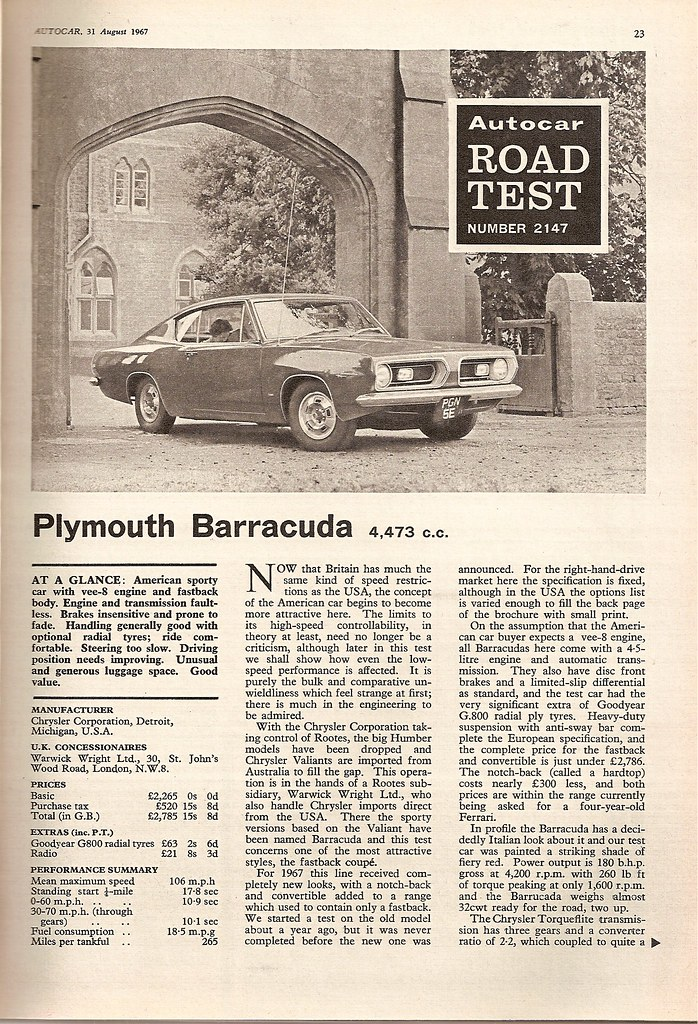 Plymouth Barracuda Road Test 1967 | Flickr