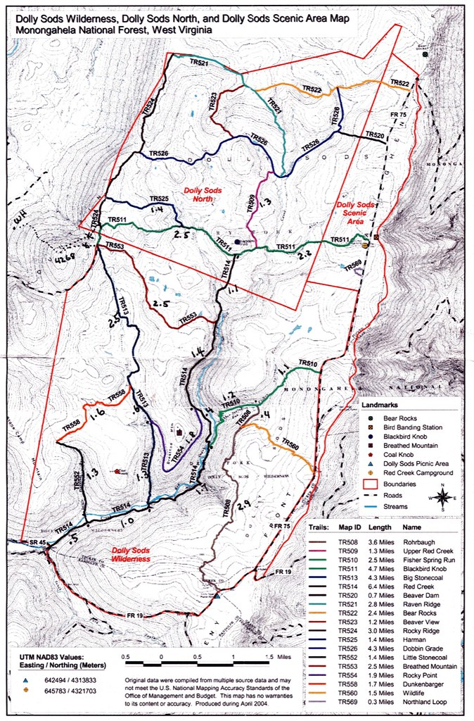 Dolly Sods map | Map of Dolly Sods trails | Monty VanderBilt ...