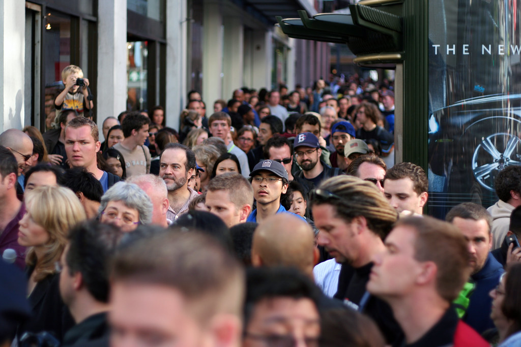 Crowd down Stockton street