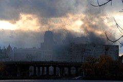 Fire at Central Warehouse-View from Rensselaer by mike.r.w.