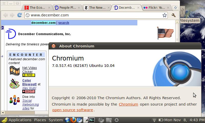 Google Chrome browser installed on the EEEPC!   It took 7 mi