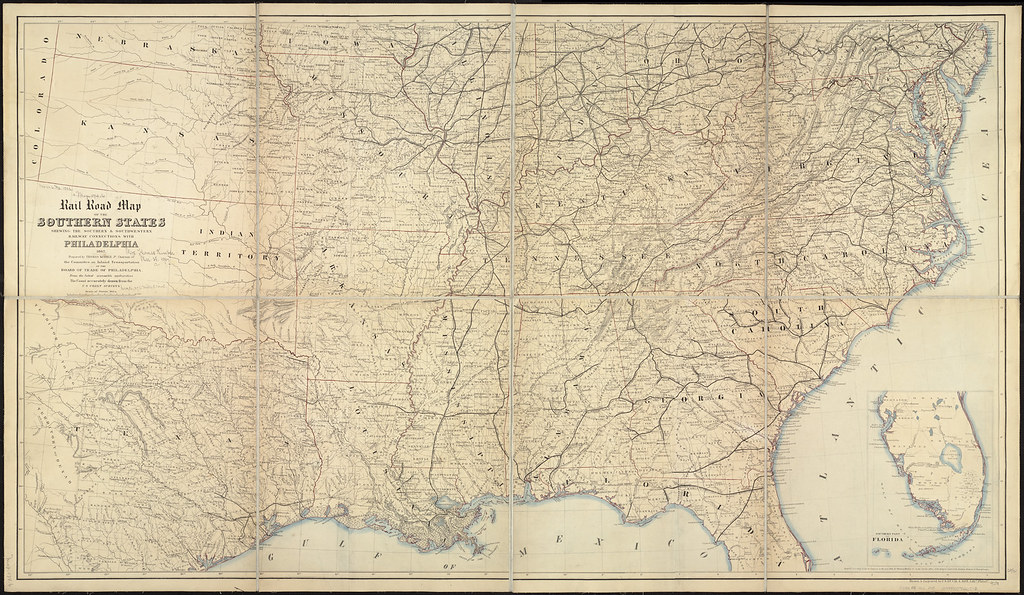 Rail road map of the southern states shewing the southern ...