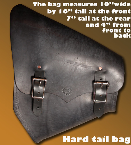 black hardtail bag measure text | by Richard Phillips Leather LLC