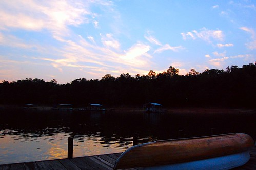 sunset lake water boat canoe lakehartwell