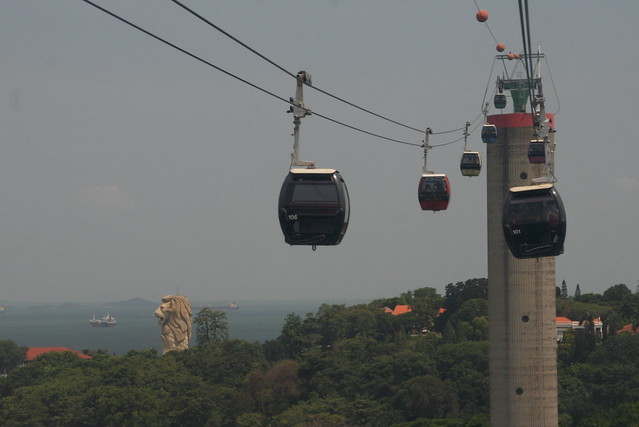 Merlion and Sentosa from Cable Car