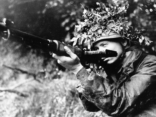 German paratrooper with automatic rifle FG 42  summer of 1944 in France