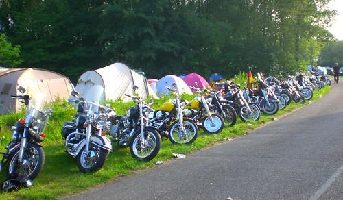 Harley Davidsons line up