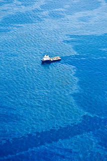 The Coast Guard helps control navigation as well as enforce the ever growing restricted areas, around the oil spill.