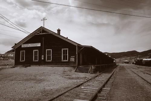 railroad sky sepia clouds landscape blackwhite tracks trains roadtrip mining kodachrome highway50 canonf1 nevadanorthern