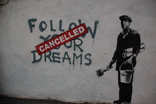 Banksy in Boston: F̶O̶L̶L̶O̶W̶ ̶Y̶O̶U̶R̶ ̶D̶R̶E̶A̶M̶S̶ CANCELLED, Essex St, Chinatown, Boston | by Chris Devers