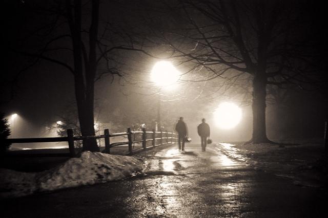 night fog Haverford College