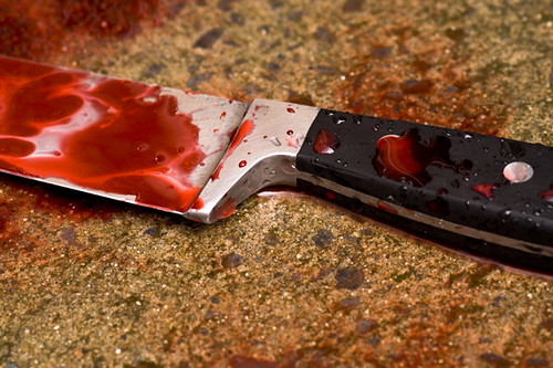 Knife stained with blood. Photo: Daily Post