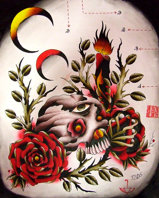 skullrosescandle