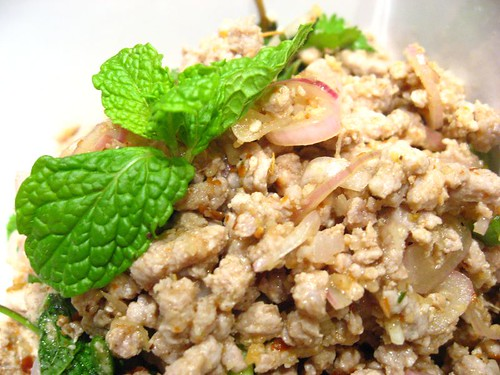 Larb E-Sarn (Spicy Northeastern Style Minced Pork Salad) ลาบอิสาน + Recipe