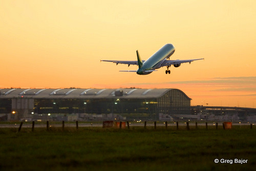 Airplane taking off at London Heathrow Airport