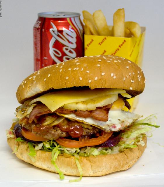 Metzis Tasty Takeaway Hamburger with the lot - Australian style!