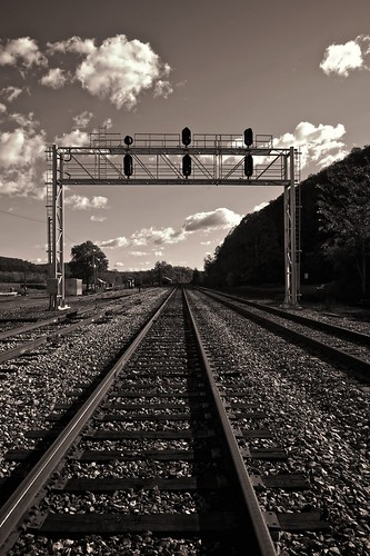 autumn blackandwhite bw fall monochrome clouds nikon shadows westvirginia blueskies tones railroads railroadtracks wva csx d300 csxrailroad 1755nikkor niksoftware flickraward hancockcountywestvirginia morgancountywestvirginia westvirginiafoothills