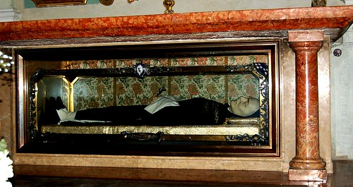 Waxwork of Blessed James of Ulm in a glass coffin. | by Curious Expeditions