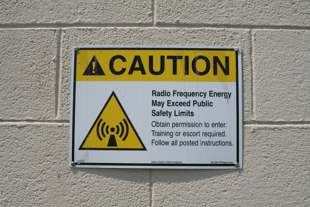 RF frequency warning sign at KVLY-TV Channel 11 building a