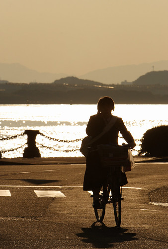 sunset woman girl bicycle silhouette japan geotagged bay 日本 fukuoka kitakyushu wakamatsu 福岡 少女 シルエット 女性 福岡県 北九州 dokai mrhayata geo:lat=339027444 geo:lon=1308146306