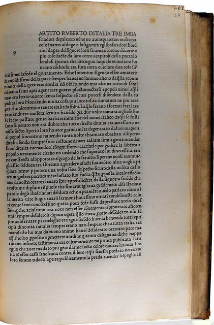 Initial space with guide letter from Poggius Florentinus: Historia Florentina [Italian]