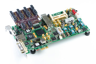 FMC-LPC to SATA adapter board - installed on Xilinx SP605 board | by Dan Strother