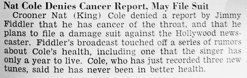 Nat King Cole Denies Report of Cancer - Jet Magazine, January 26, 1956