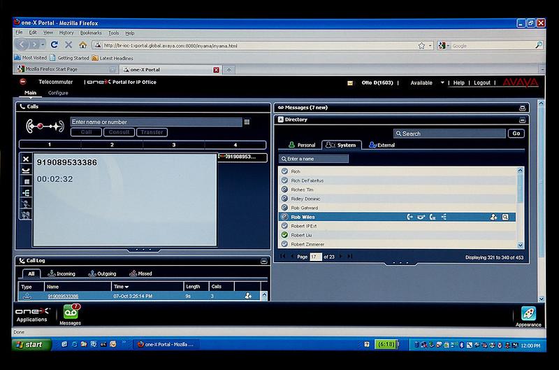 Avaya one-X Portal for IP Office Screen