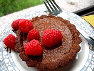 Bittersweet Chocolate Truffle Tartlet with Raspberries (w/ Recipe)