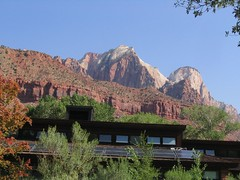Zion Canyon Visitor Center with the Towers of the Virgin, Zion National Park, Utah