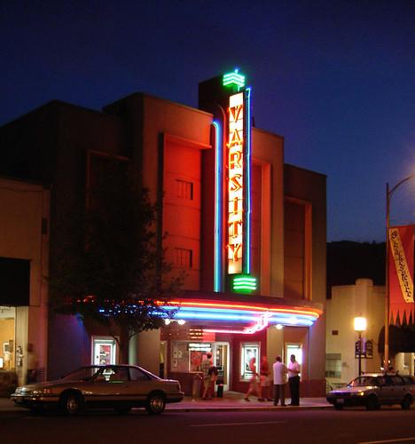 sunset oregon movie marquee theater neon dusk varsity ashland