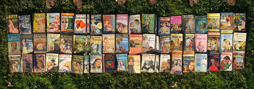Three rows of romance novels with colourful covers laid out on grass