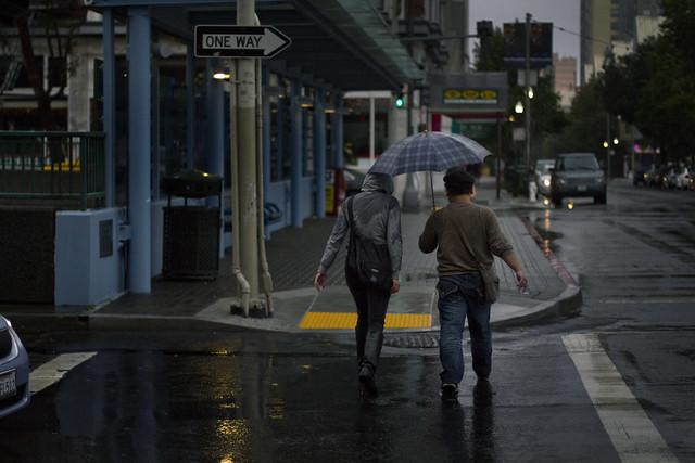 umbrellas on Geary Blvd; The Fillmore, San Francisco (2010)
