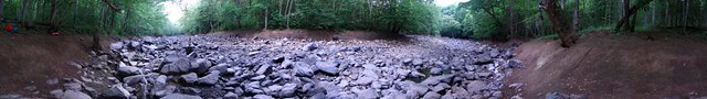360 Panoramic of the Caney Fork River bed, Polly Branch Campsite, Polly Branch Trail, Centennial Wilderness WMA, White Co, TN