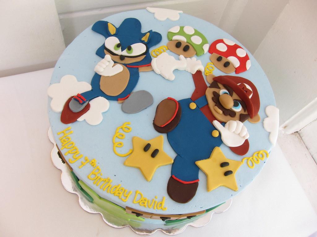 Cool Mario And Sonic Birthday Cake Polkadots Olga Flickr Funny Birthday Cards Online Elaedamsfinfo